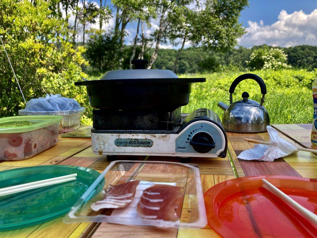 嬬恋のバラキ高原キャンプ場で料理