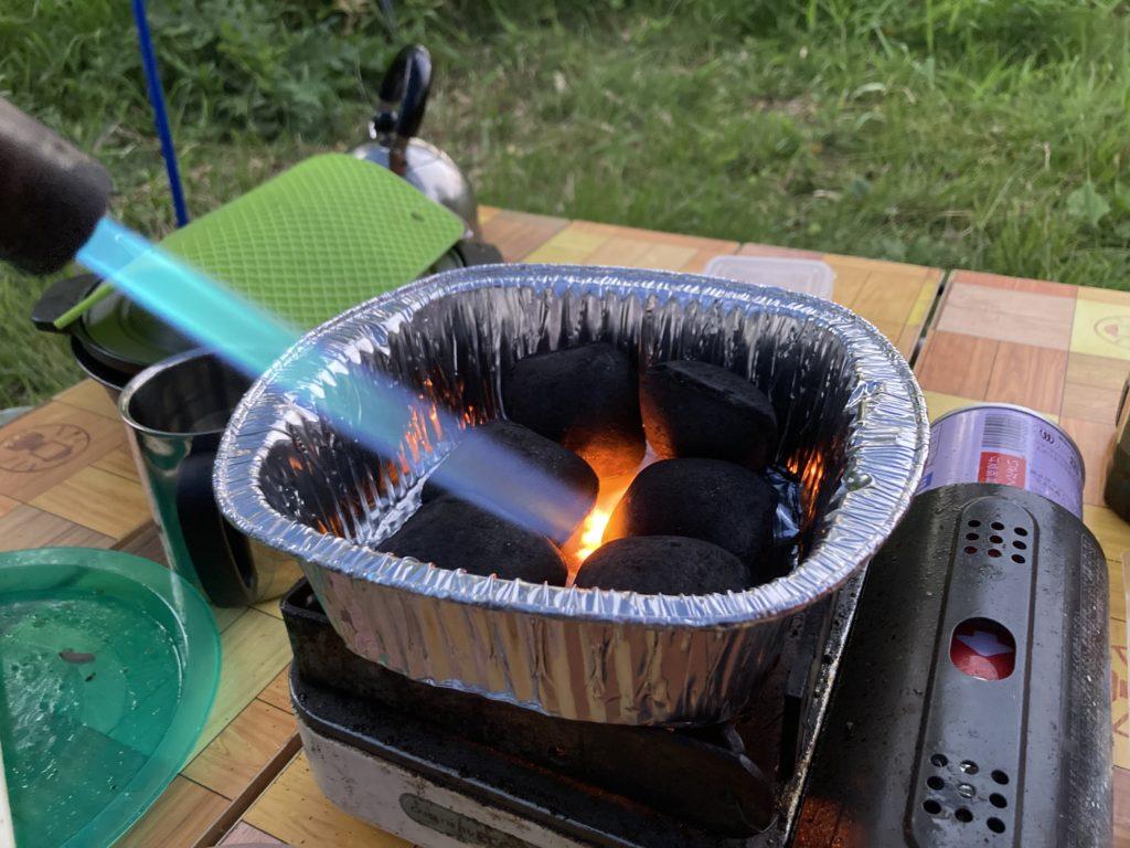 嬬恋のバラキ高原キャンプ場で豆炭