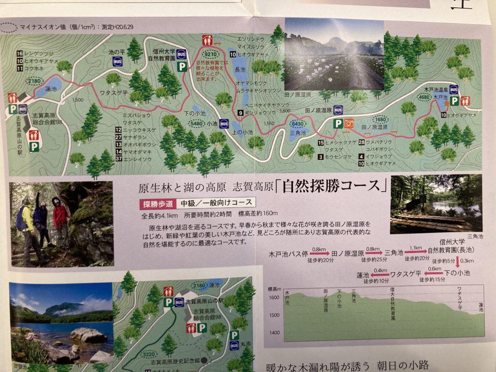 志賀高原自然歩道のハイキングコース「自然探勝コース」