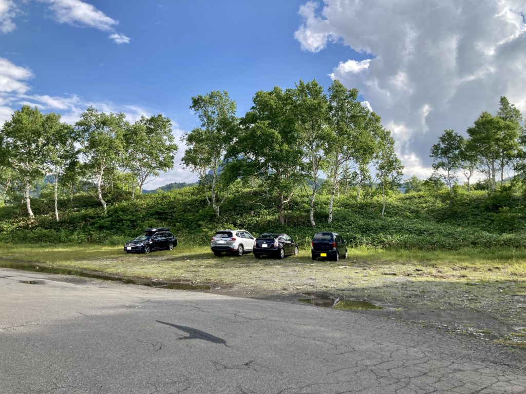 志賀高原の木戸池キャンプ場の専用の駐車場
