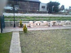 花壇のレンガ積み自作