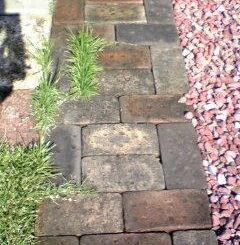 レンガ敷設と芝生の浸食
