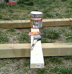室外機カバーの木材塗装